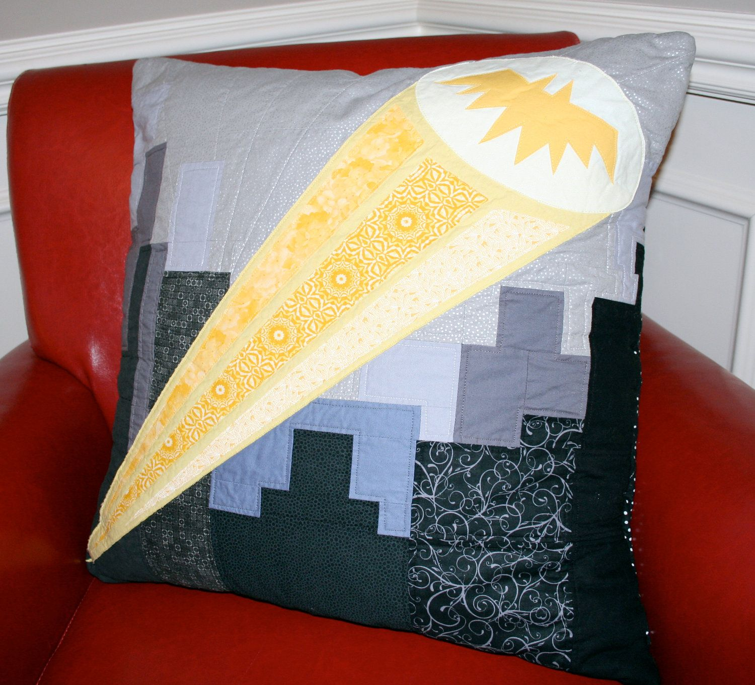 batman pillow cover  24x24  oversized quilted pillow cover
