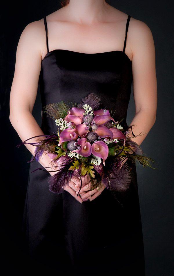 Striking with black dress! Deep Purple Calla Bouquet