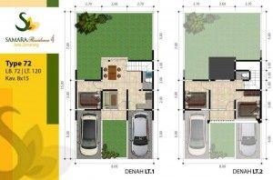 denah rumah tipe 72 2 lantai | denah rumah, rumah