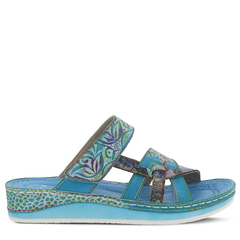 Spring Step Women's Caiman Sandals (Aqua Multi Leather) - 42.0 M