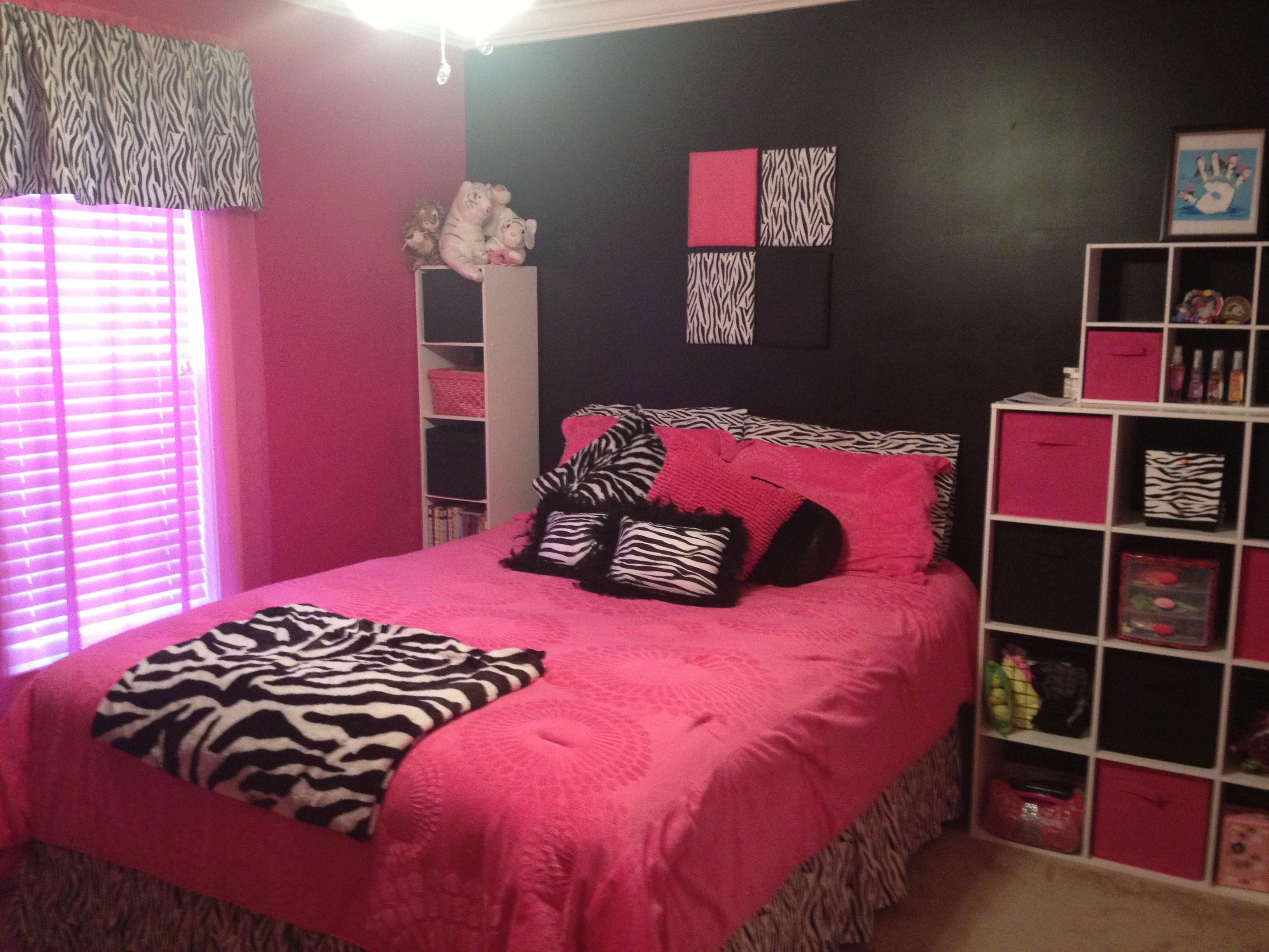 zebra print and pink bedroom