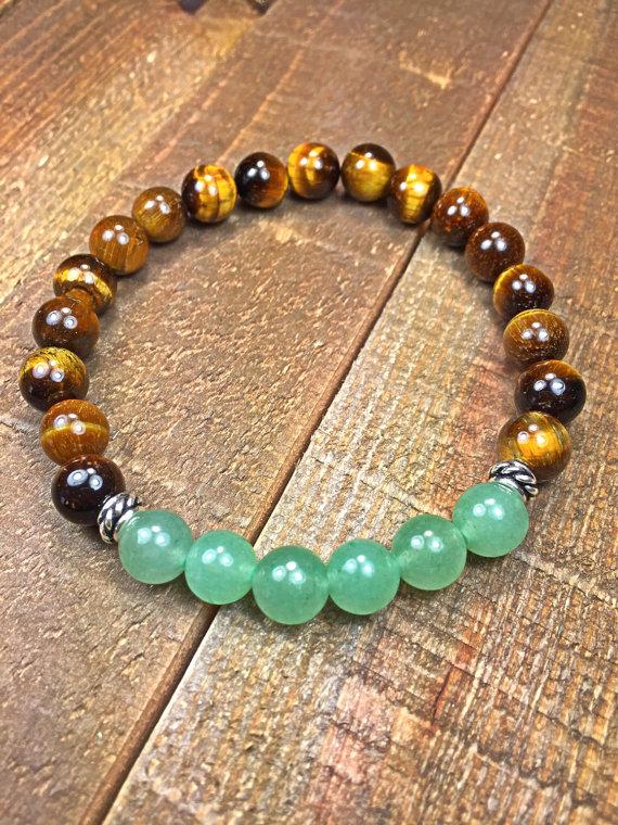 Mens Tiger eye and jade bracelet, mens bracelet, beaded bracelet, stretch bracelet, jewelry, gifts for him, stackable bracelet, yoga jewelry  8mm