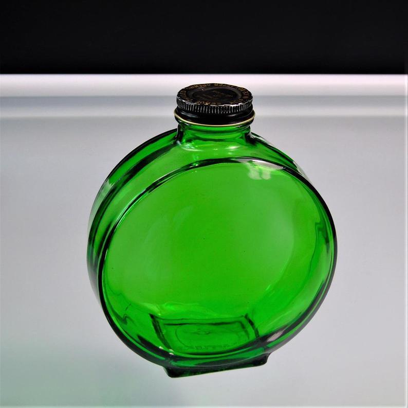 Green Glass Bitters Bottle Owens Illinois 1930s Vintage Etsy In 2021 Green Glass Bottles Vintage Green Glass Green Glass