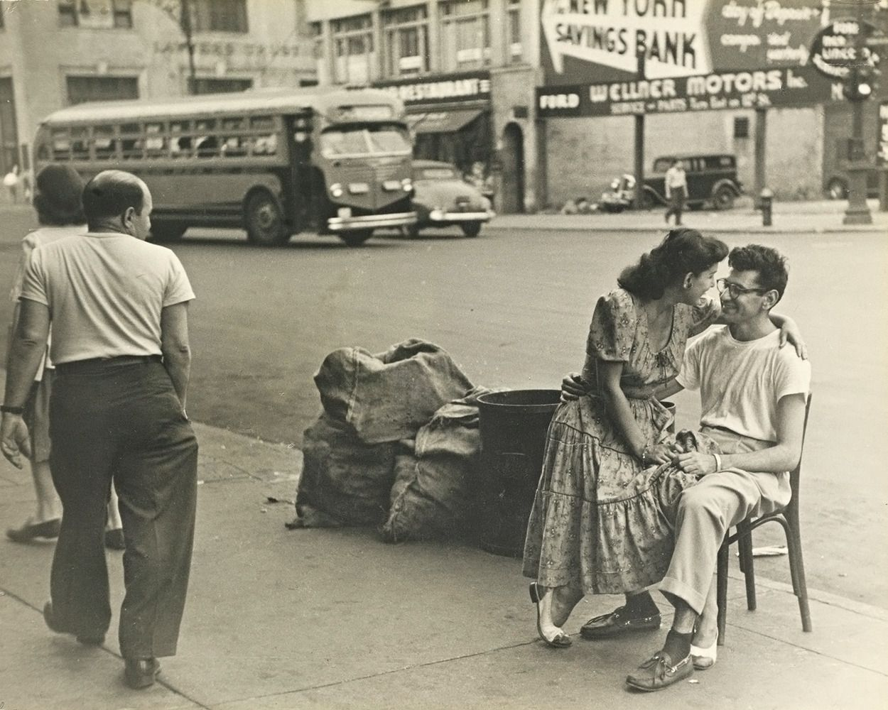 vintage everyday: Couple in front of their candy store in New York City, 1949