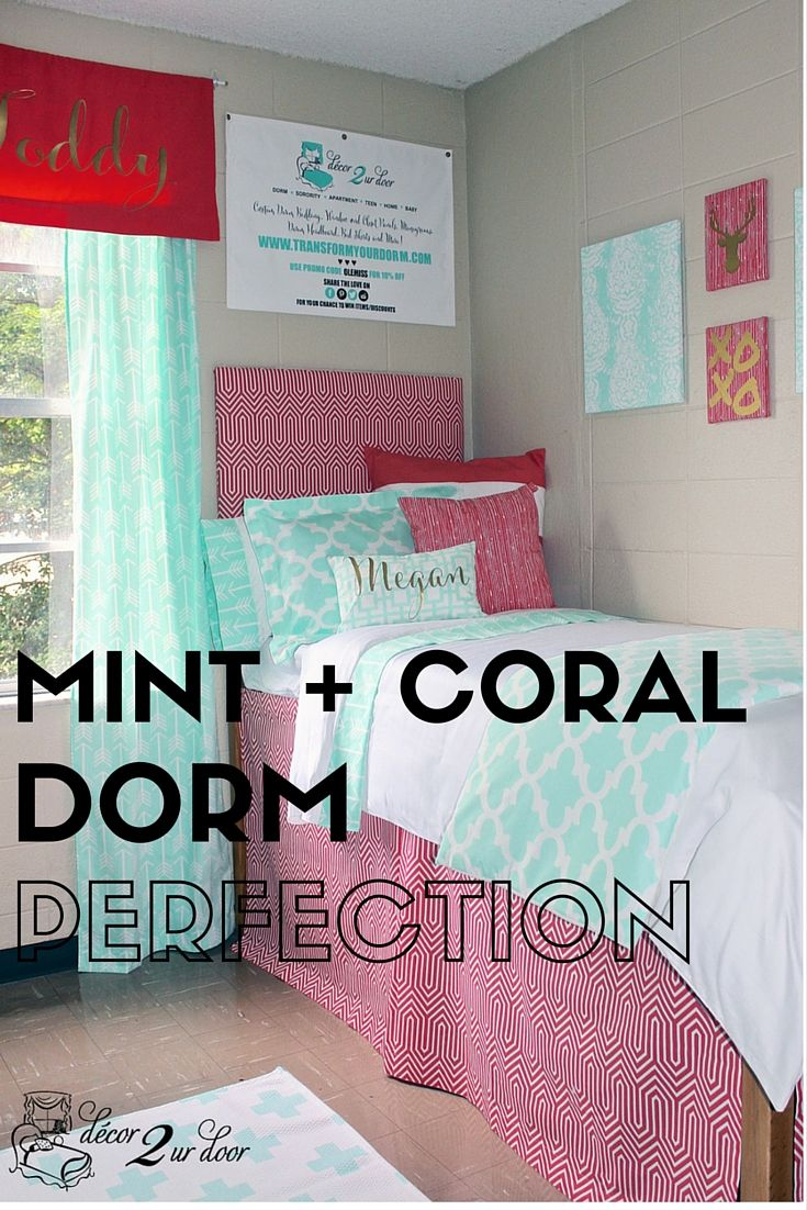 Design Your Own Dorm Room: Coral And Mint Dorm Room. Decorate A Dorm Room. Dorm Room