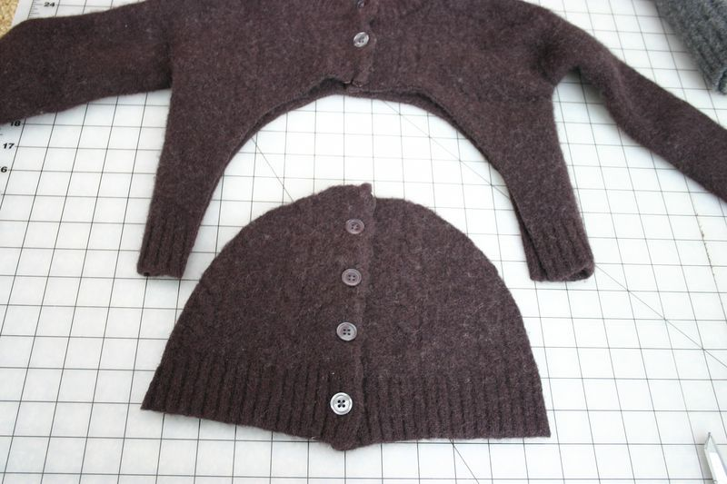 old sweater=arm warmers & hat set. another sweater for the trim & the win.