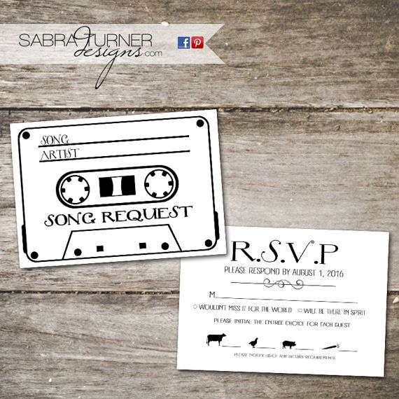 Rsvp Wedding Cards Front And Back Song Request Retro Cassette Tape Rsvp Wedding Cards Song Request Wedding Cards