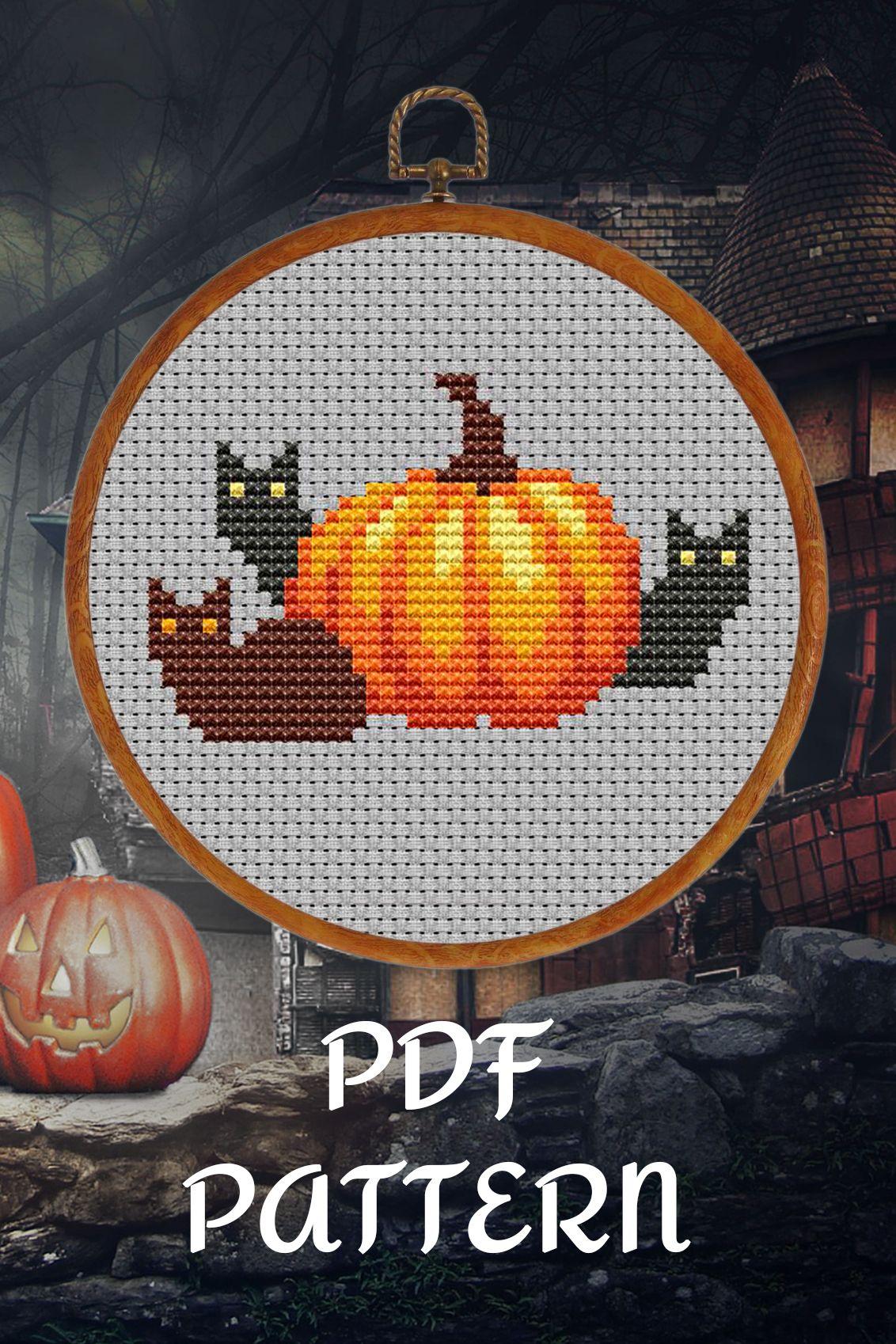 Plaid Pumpkin Halloween PDF Cross Stitch Pattern Chart