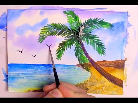 How To Paint A Tropical Beach In Watercolor Speed Painting