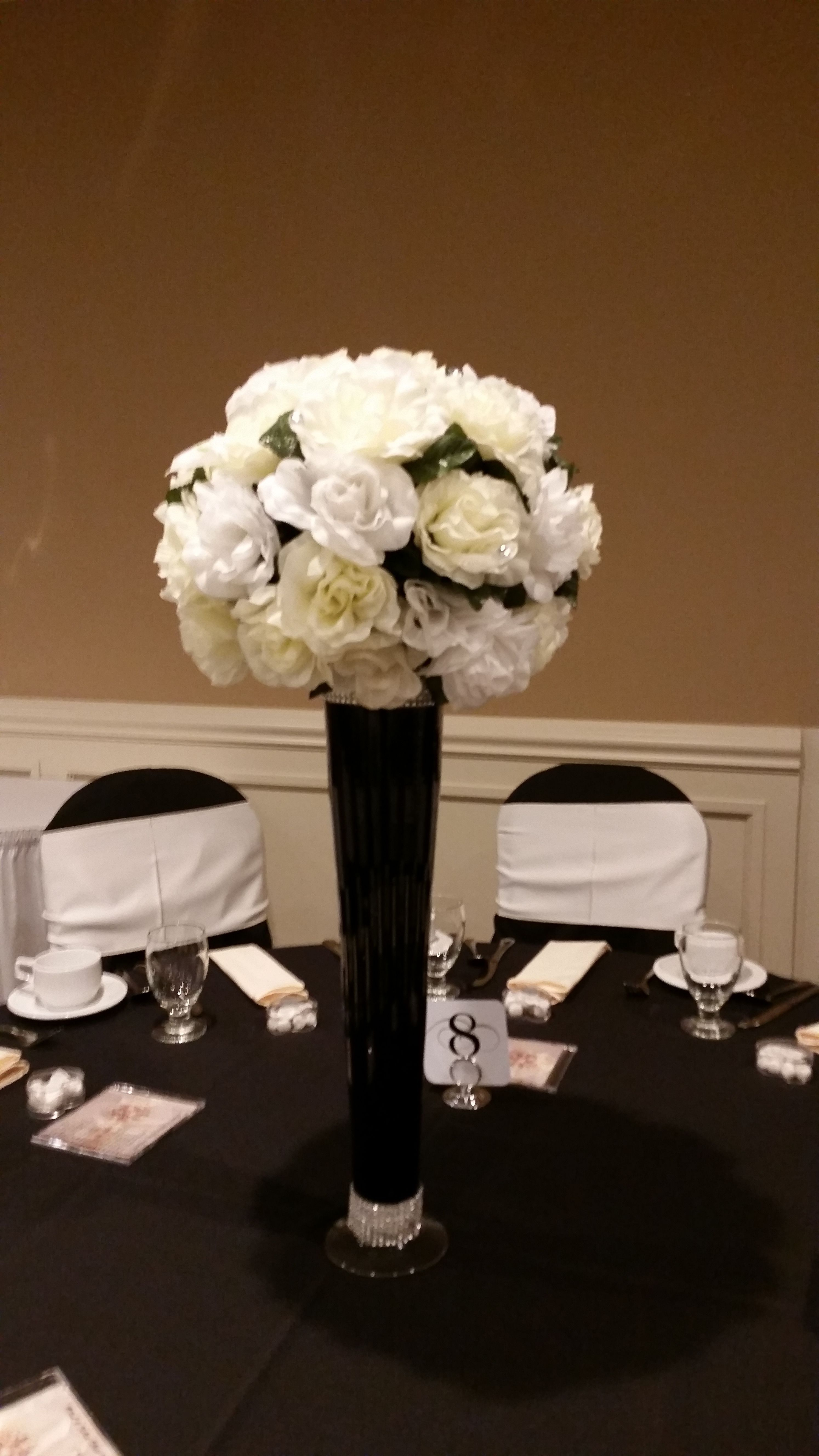 Black white and ivory silk flowers with tall black vase with black white and ivory silk flowers with tall black vase with pearls around top and reviewsmspy