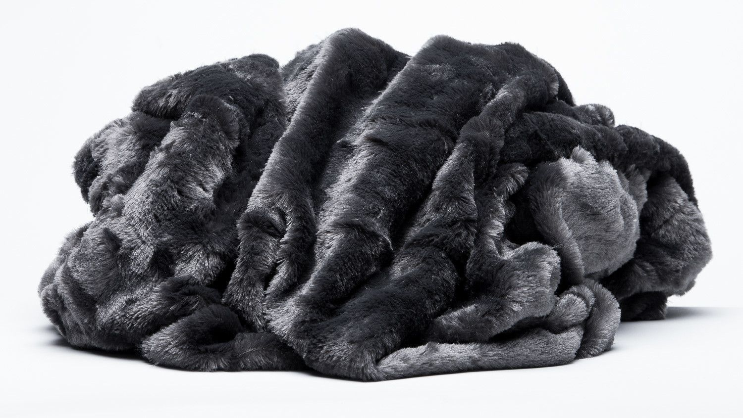Super Luxury Faux Fur Fabric Material BLACK CABLE