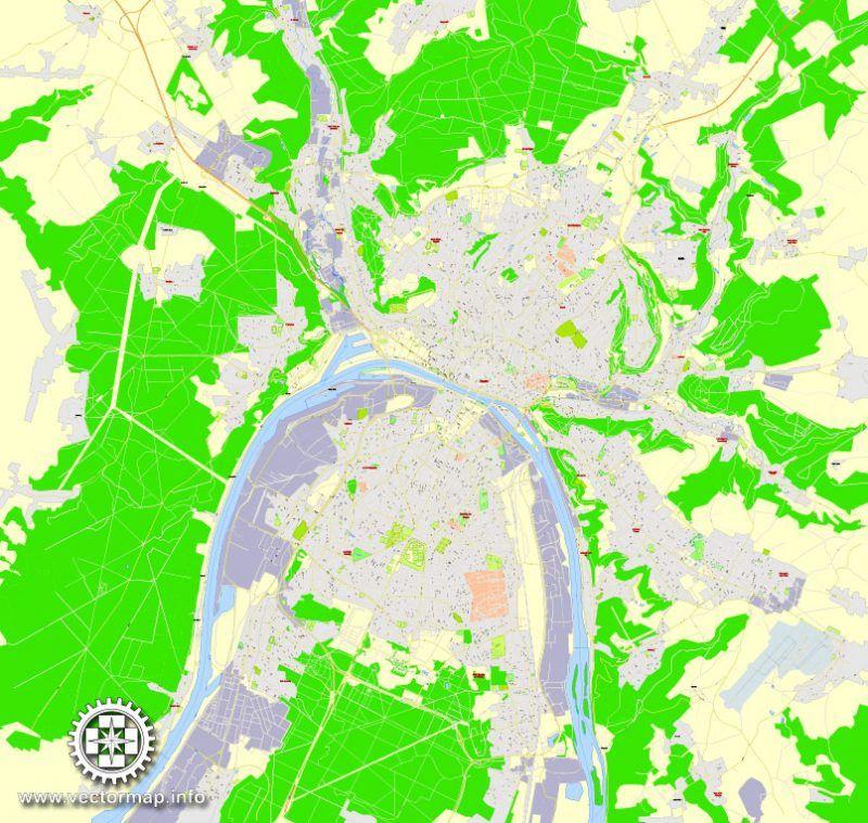 Rouen metro area PDF Map, France, exact vector street G-View Level ...