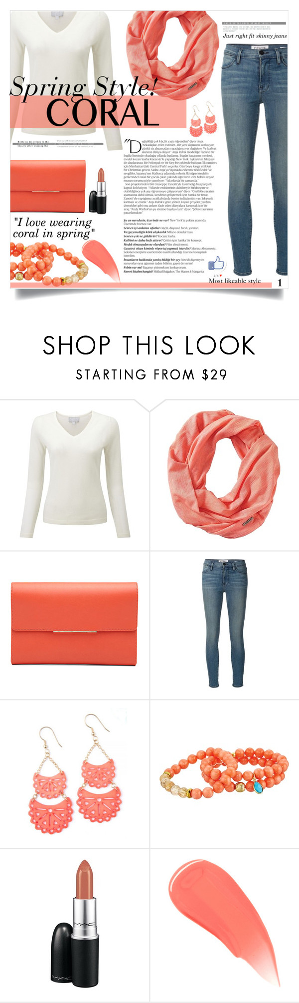 """""""Coral spring lovin."""" by ambacasa ❤ liked on Polyvore featuring beauty, Smartwool, Frame Denim, Dee Berkley, MAC Cosmetics, Balmain and Burberry"""