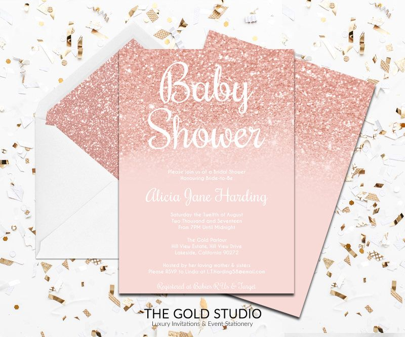 Baby Shower Invitations For Word Templates Mesmerizing Rose Gold Baby Shower Invitation Instant Download Modern Editable .
