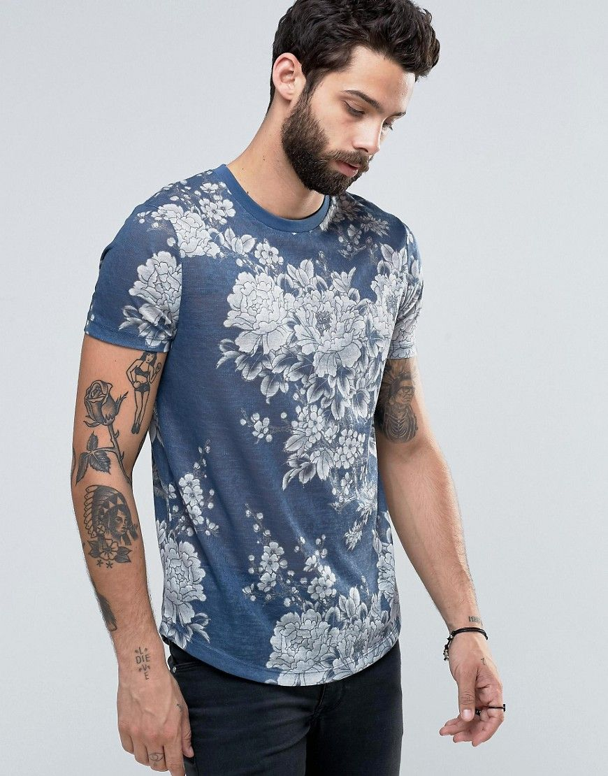 ASOS T-Shirt With Japanese Style Floral Print In Linen Look at asos.com