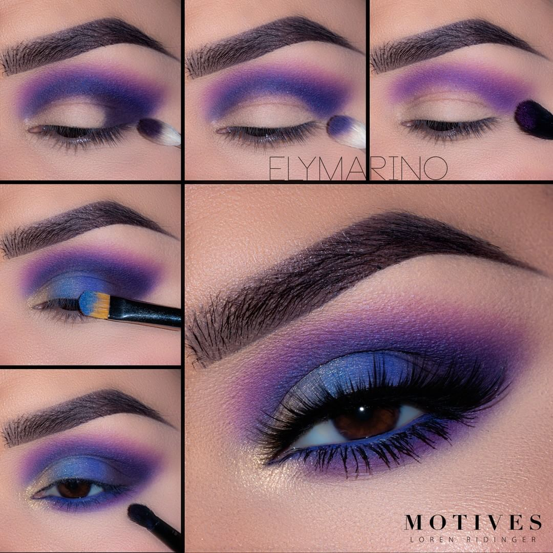 """Motives Cosmetics Official on Instagram: """"How fun is this blue and purple smokey eye from @elymarino ?! See how she got this glam colorful look:  1.Begin by blending """"After Party""""…"""""""