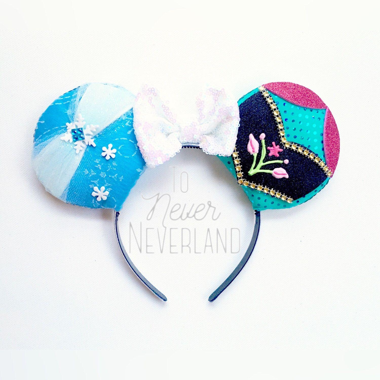 Anna /& Elsa | Minnie Ears Dual Satin Bow Mouse Ears Frozen Ears Disney Frozen Mickey Ears