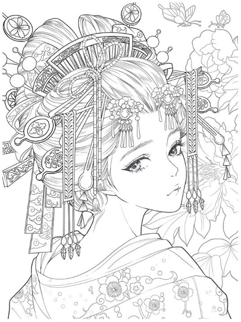 Nouveau Masquerade Coloring Book Custome Jouer Livre A Etsy Anime Coloring Pages Anime Coloring Coloring Books