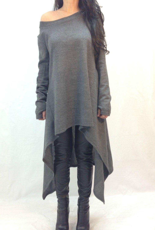 Grey Asymmetrical Sweater Top Long Sleeve Sweater dress Knitwear ...