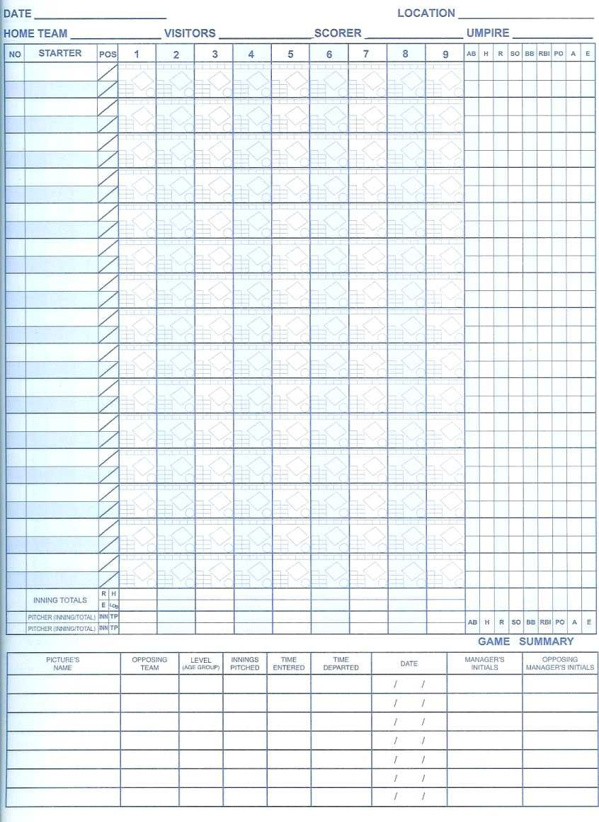 Free printable softball scorebook sheets softball for Softball scorecard template