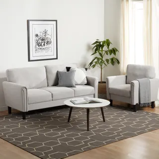 Off-White Microfiber Sectional with Chaise | DCG Stores