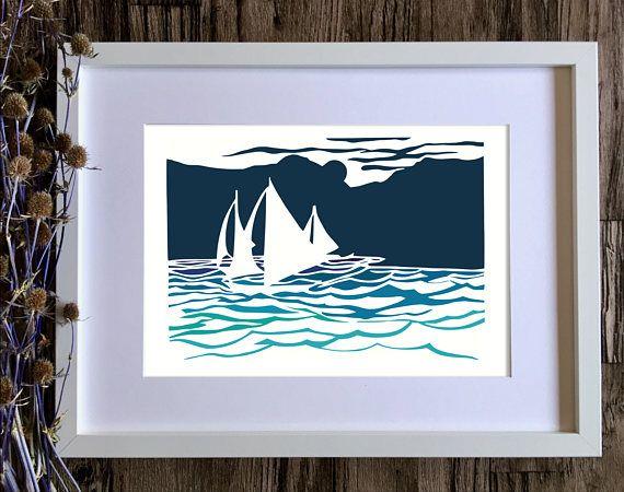 Seaside art print of sailing boats on ocean blues. Coastal decor wall art made from a hand cut papercut.