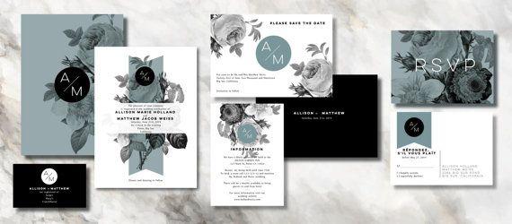 SOCIAL Wedding Invitation Set Save the date RSVP by INVITALIA