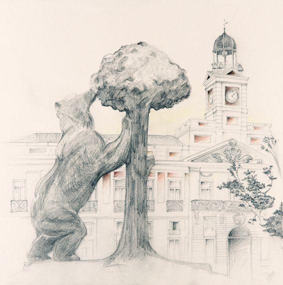 El Oso y el Madroño, Plaza del Sol, Madrid - Cruz Illustration