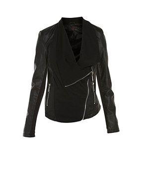 Black Black Black Jersey Waterfall Front Biker Jacket 255587601