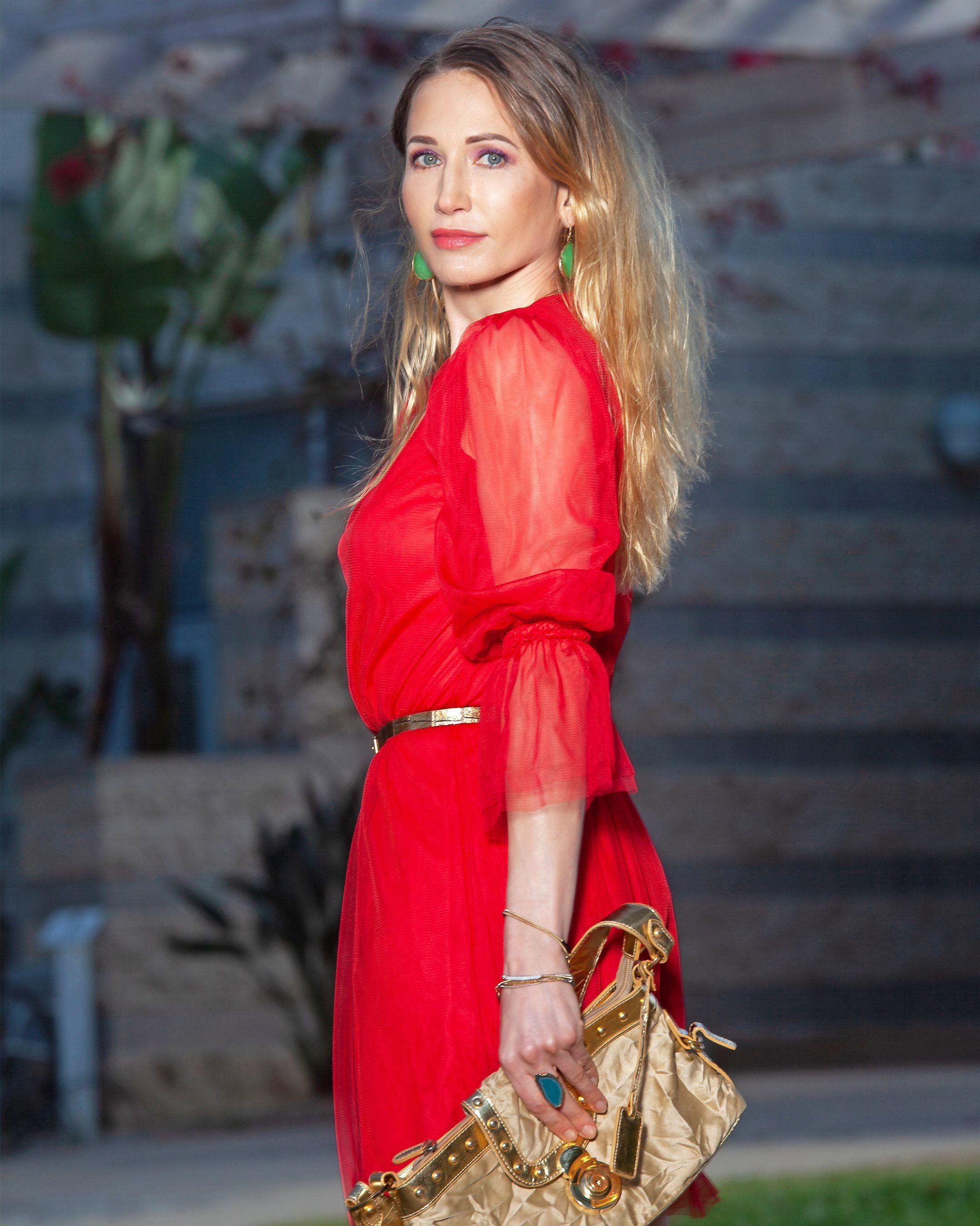 Staud Red Beaded Cuff Tulle Mesh Long Sleeves Dress Long Sleeve Dress Long Sleeve Mesh Dress Mesh Long Sleeve