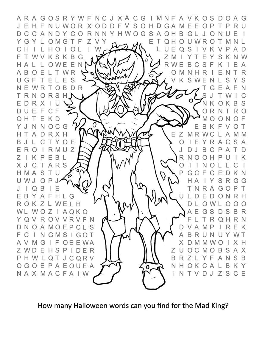 mad king thorn halloween wordsearch for kids and adults - Halloween Word Searches For Kids