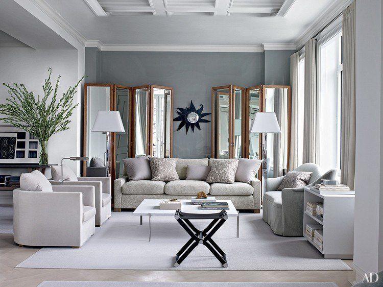 Idée peinture salon \u2013couleurs neutres dans les intérieurs Living