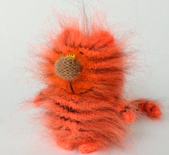 Tiger Cat - Hand-Knitted Amigurumi Spielzeug Tiger Miniatur Kätzchen Dolltoy rote Katze Schwarz und Ingwer gefüllt Wolle Katze Tier Valentinstag Geschenk