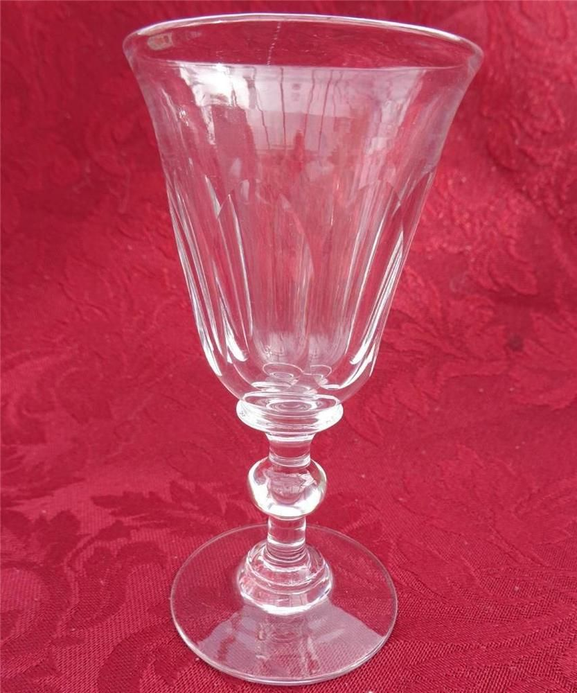 Antique Victorian Ball Knop Stem Faceted Bell Bowl Wine Glass Plain Foot C 1850 Glass Antique Glass Wine Glass