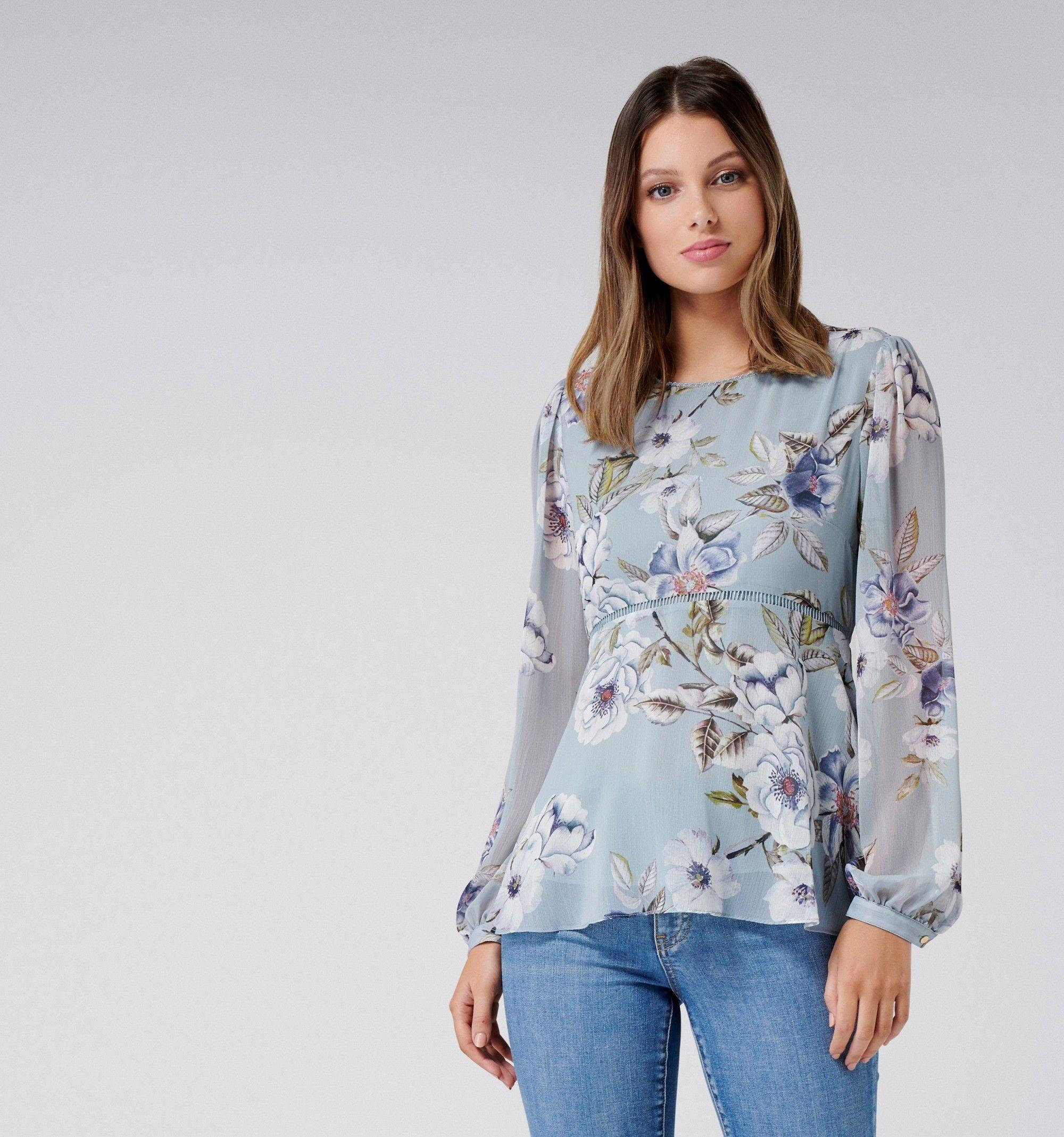 cd8f4d13170749 Ella empire line blouson blouse Blue Stemmed Florets Print - Womens Fashion