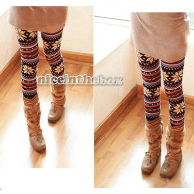 New Knitted Colorful Crystal Pattern Leggings Tights Pants Dry Acrylic Hot N98B | eBay