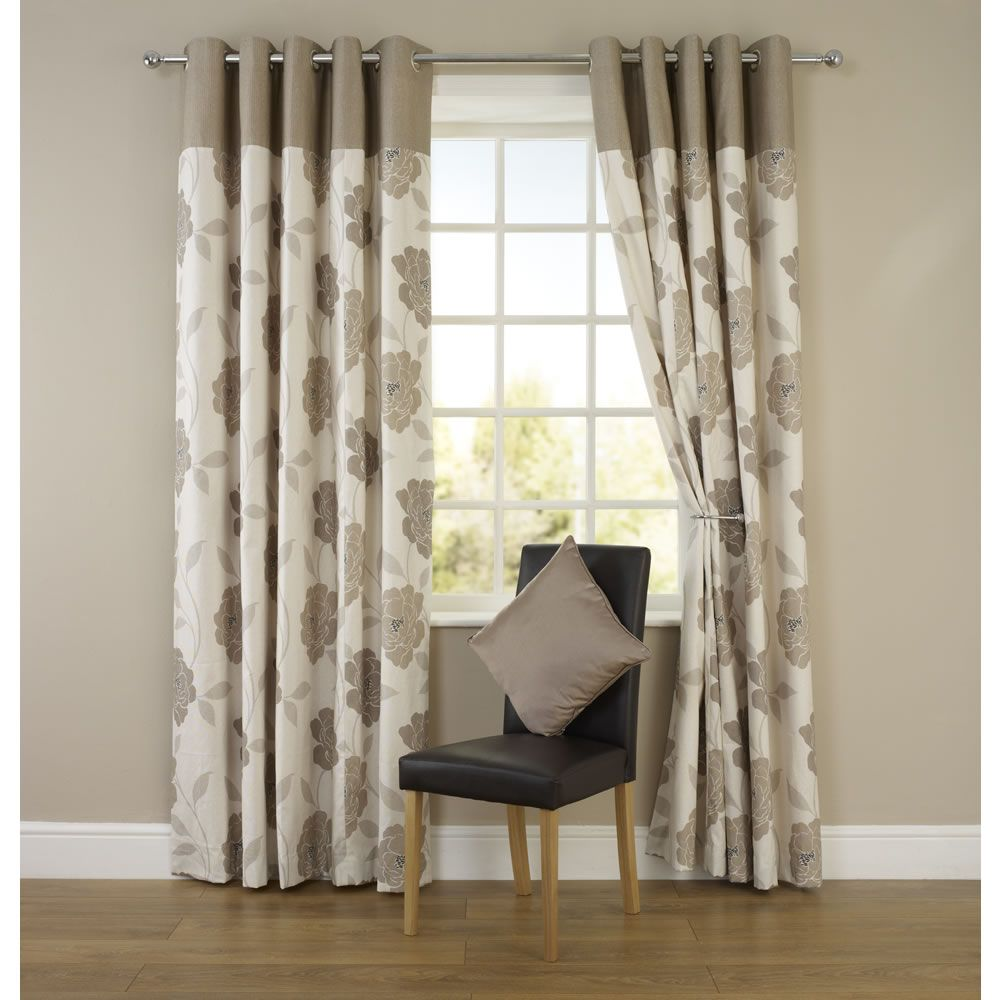 Wilko Molly Floral Eyelet Curtains Natural 117cm X 183cm