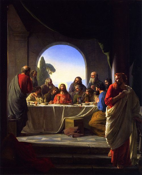 Judas Iscariot right retiring from the Last Supper painting by