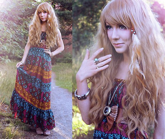 Maxi Dress, Feather Hair Accessorie