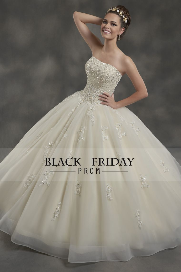 strapless with beads and applique wedding dresses ball gown