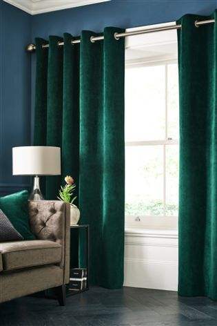 Emerald Green Soft Velour Eyelet Curtains | Interior in 2019 ...