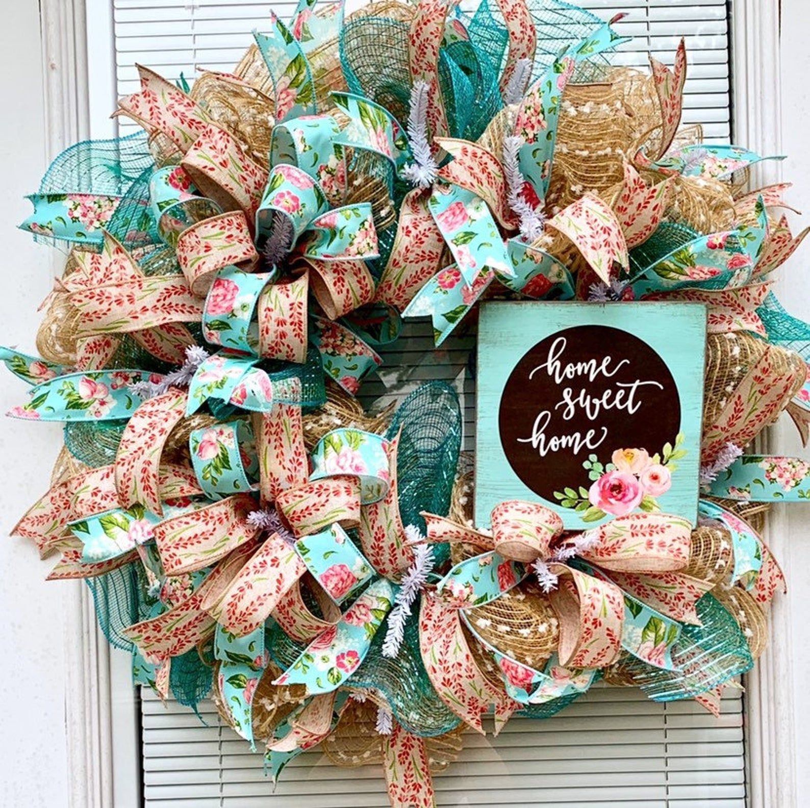 Photo of Burlap Wreath for your door, Deco Mesh Wreath for your door, Summer Wreath, Spring Wreath, Everyday Wreath, Burlap Wreath, Deco Mesh Wreath