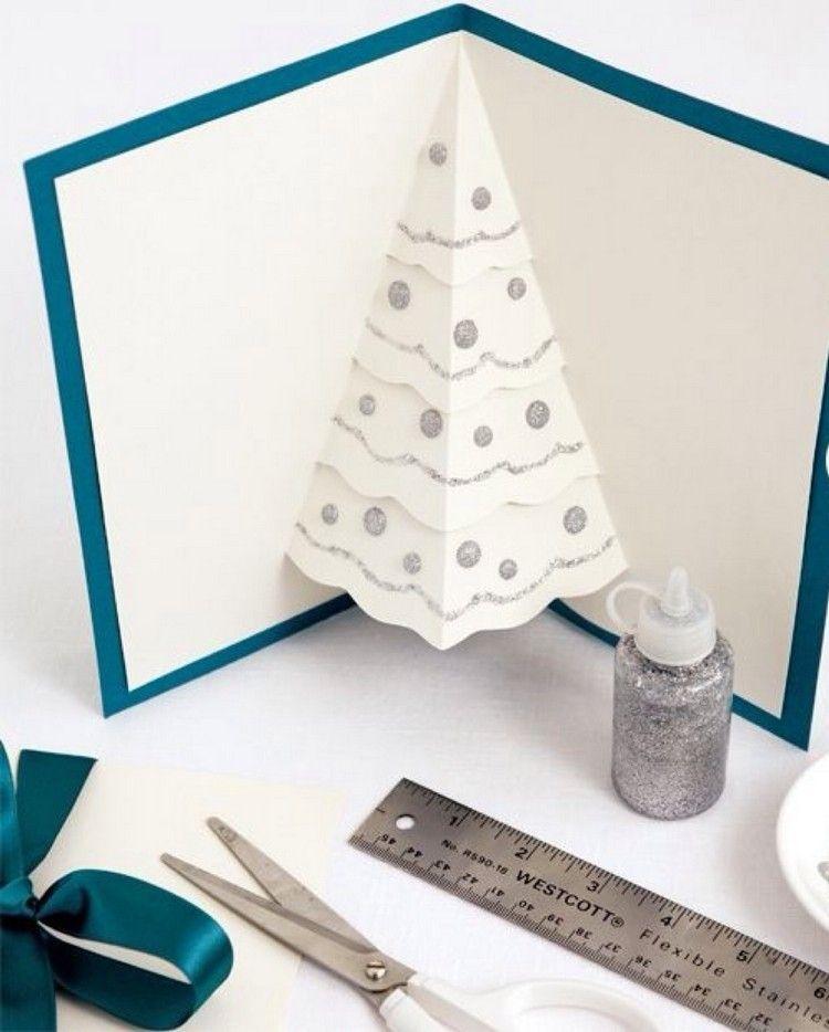 Pop Up Weihnachtskarte Mit Silbernem Glitzergel Verschonern