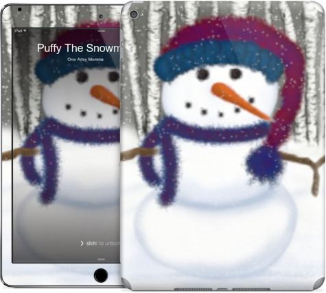 Puffy The Snowman iPad Skin With Matching Wallpaper. by #One Artsy Momma  @Nuvango  $30.00