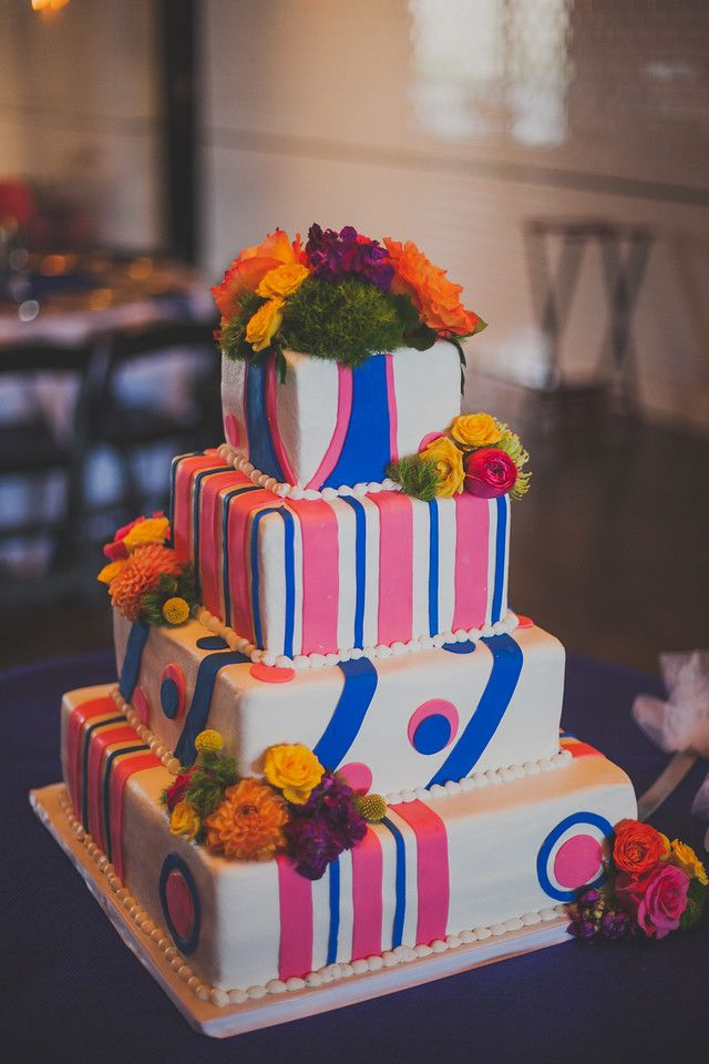 Colorful wedding CAKE!, royal blue, pink and flowers to die for!  @emmyray floral.