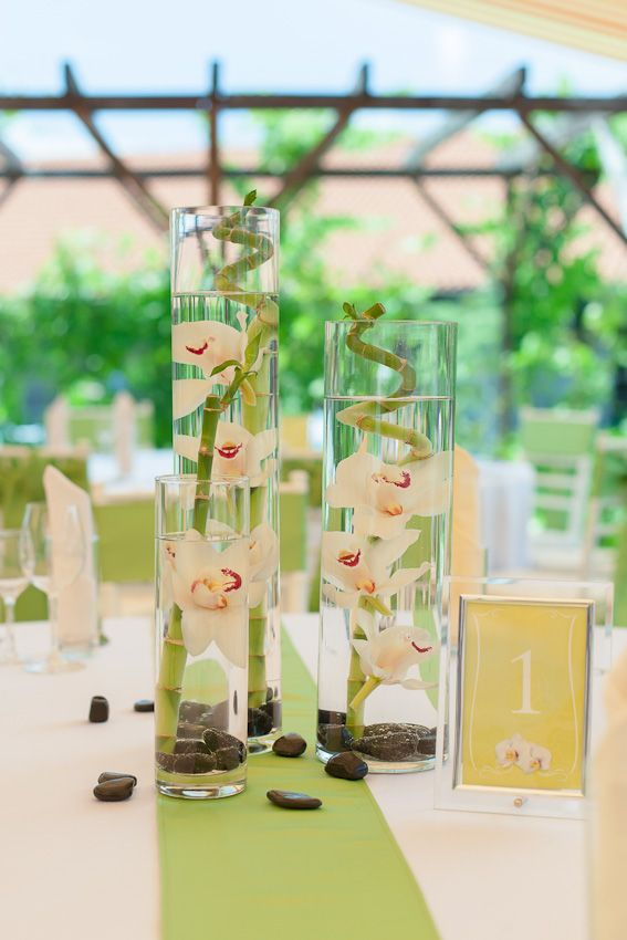 Bamboo And Orchids Themed Wedding Centerpiece Wedding Table