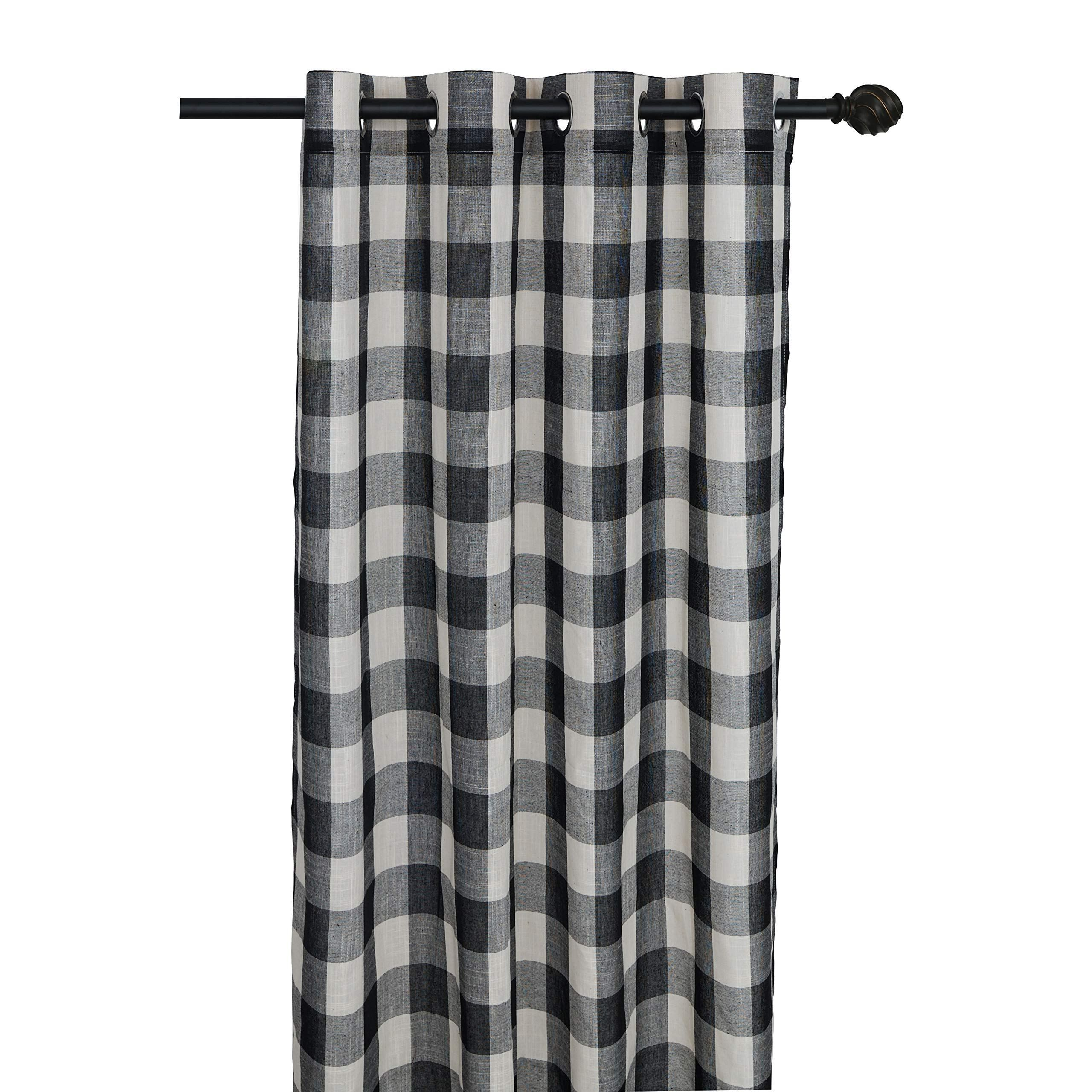 Creativesfun Buffalo Check Grommet Window Curtain Black White