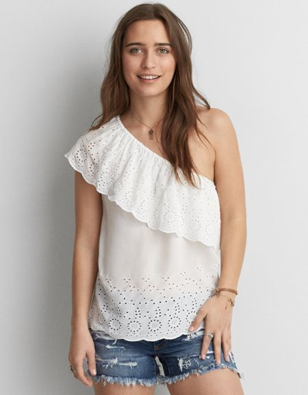 66bbfc7b9755d American Eagle Outfitters AE One Shoulder Eyelet Top