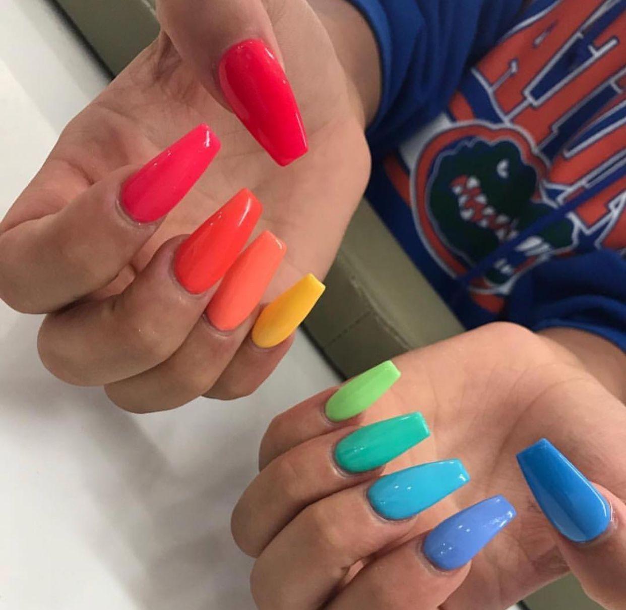 Cute Rainbow Nails Follow Viqqtoriaa For More Nails Acrylic Nails Stiletto Summer Acrylic Nails Coffin Nails Designs