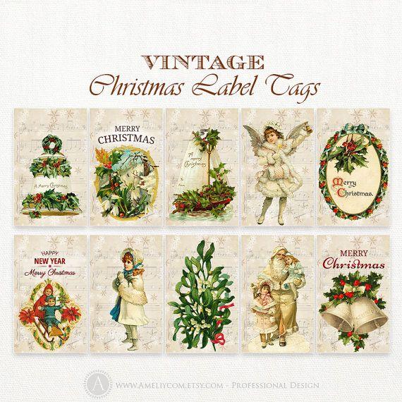 printable christmas tags labels 20 pcs vintage diy by ameliycom